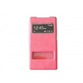 Pochette pour Sony Xperia Z2 simili-cuir rose fuschia + film protection écran offert