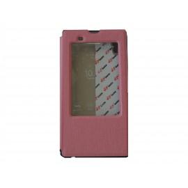 Pochette pour Sony Xperia T3 simili-cuir rose clair fenêtre + film protection écran offert