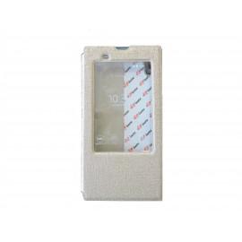Pochette pour Sony Xperia T3 simili-cuir or fenêtre + film protection écran offert