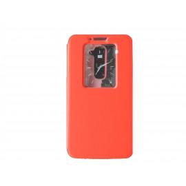 Pochette pour LG G2 rouge fenêtre + film protection écran offert