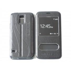 Pochette pour Samsung Galaxy S5 G900 simili-cuir noir+ film protection écran