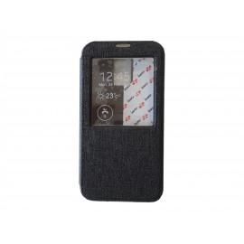 Pochette pour Samsung Galaxy S5 G900 simili-cuir noir fenêtre + film protection écran