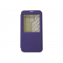 Pochette pour Samsung Galaxy S5 G900 simili-cuir violet fenêtre + film protection écran