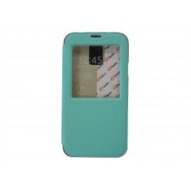 Pochette pour Samsung Galaxy S5 G900 simili-cuir vert fenêtre + film protection écran