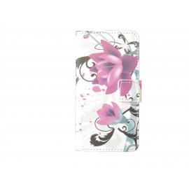 Pochette pour Samsung Galaxy Alpha G850 fleurs roses + film protection écran