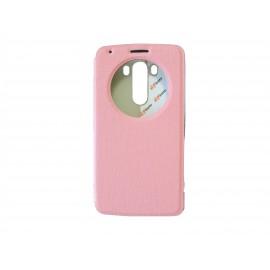Pochette Inote LG G3 rose clair + film verre trempé Incassable