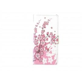 Pochette pour Wiko Highway fleurs roses + film protection écran