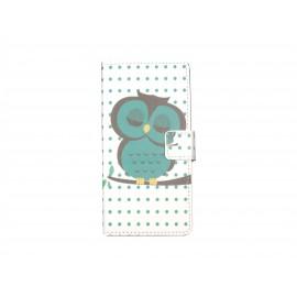 Pochette pour Wiko Highway hibou vert émeraude + film protection écran