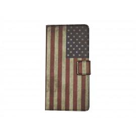 Pochette pour Wiko Highway drapeau USA/Etats-Unis + film protection écran