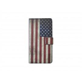 Pochette pour Wiko Wax drapeau Etats-Unis/USA + film protection écran
