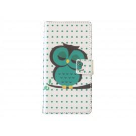 Pochette pour Wiko Wax hibou vert émeraude + film protection écran