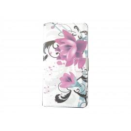 Pochette pour Wiko Getaway fleurs roses + film protection écran
