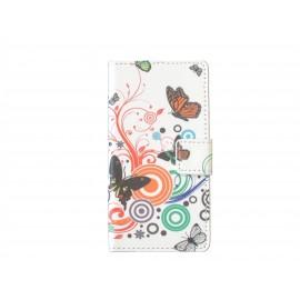 Pochette pour Wiko Getaway papillons multicolores + film protection écran