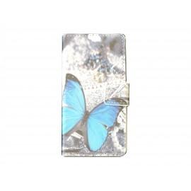 Pochette pour Wiko Getaway papillon bleu + film protection écran