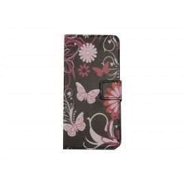 Pochette pour Wiko Wax noire papillons roses + film protection écran
