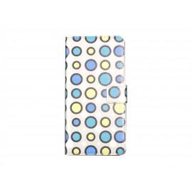 Pochette pour Wiko Highway cercles bleus + film protection écran