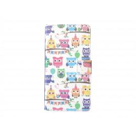 Pochette pour Wiko Rainbow hiboux multicolores + film protection écran