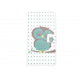 Pochette pour Wiko Rainbow hibou vert émeraude + film protection écran