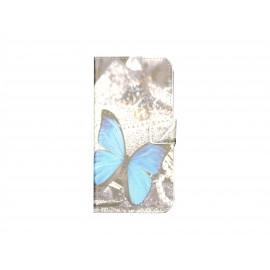Pochette pour Wiko Barry papillon bleu + film protection écran
