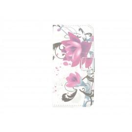 Pochette pour Wiko Barry fleurs roses+ film protection écran
