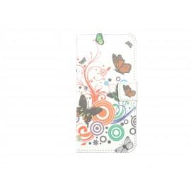 Pochette pour Wiko Barry papillons multicolores + film protection écran