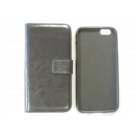 Pochette portefeuille pour Iphone 6 simili-cuir noir + film protection écran offert