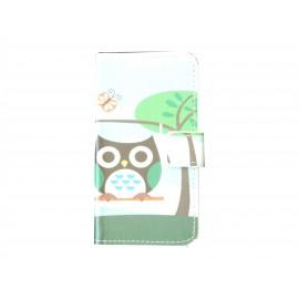 Pochette pour Samsung Galaxy Core Plus G350 hibou noir+ film protection écran offert