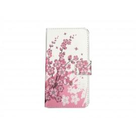 Pochette pour Samsung Galaxy Core Plus G350 petites fleurs roses + film protection écran offert