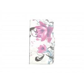 Pochette pour Samsung Galaxy Core Plus G350 fleurs roses+ film protection écran offert