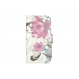 Pochette pour Samsung Galaxy Trend Lite S7390 fleurs roses+ film protection écran