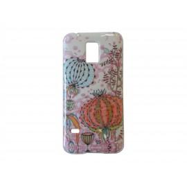 Coque TPU Samsung Galaxy S5 Mini G800 fleurs multicolores + film protection écran offert