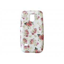 Coque TPU Samsung Galaxy S5 Mini G800 petites fleurs roses + film protection écran offert