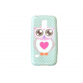 Coque TPU Samsung Galaxy S5 Mini G800 hibou coeur rose + film protection écran offert