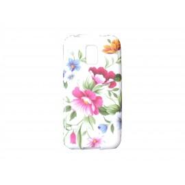 Coque TPU Samsung Galaxy S5 Mini G800 fleurs roses + film protection écran offert