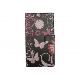 Pochette pour Sony Xperia M2 noire papillons roses + film protection écran offert