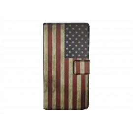 Pochette pour Wiko Darkmoon USA/Etats-unis vintage+ film protection écran
