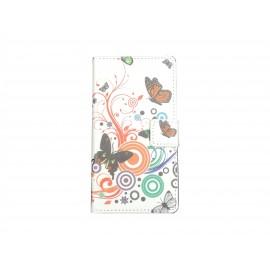 Pochette pour Wiko Cink Peax 1-2 papillons multicolores+ film protection écran