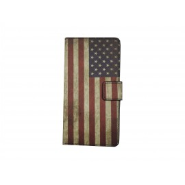 Pochette pour Sony Xperia E3 drapeau USA/Etats-Unis+ film protection écran
