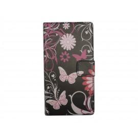 Pochette pour Wiko Sunset noire papillons roses + film protection écran