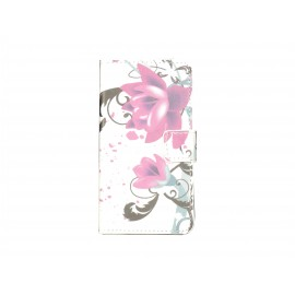 Pochette simili-cuir pour Nokia Lumia 630 fleurs roses + film protection écran