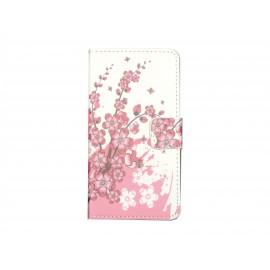 Pochette simili-cuir pour Nokia Lumia 630 petites fleurs roses + film protection écran