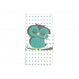 Pochette simili-cuir pour Nokia Lumia 630 hibou vert émeraude + film protection écran