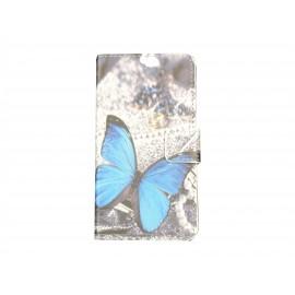Pochette simili-cuir pour Nokia Lumia 630 papillon bleu + film protection écran