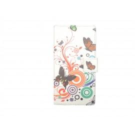 Pochette simili-cuir pour Nokia Lumia 530 papillons multicolores+ film protection écran