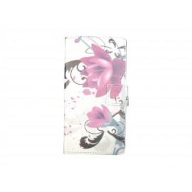 Pochette simili-cuir pour Nokia Lumia 530 fleurs violettes+ film protection écran