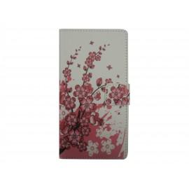 Pochette simili-cuir pour Nokia Lumia 530 petites fleurs roses+ film protection écran