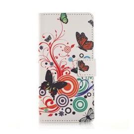Pochette pour Samsung A7 papillons multicolores + film protection écran