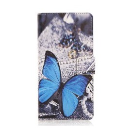 Pochette pour Sony M4 Aqua papillon bleu