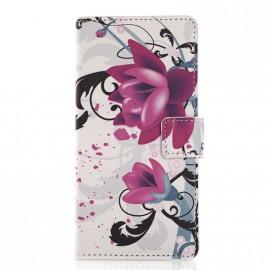Pochette pour Sony M4 Aqua fleurs violettes