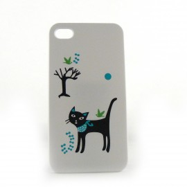Coque blanche chat noir pour Iphone 4 + film protection ecran